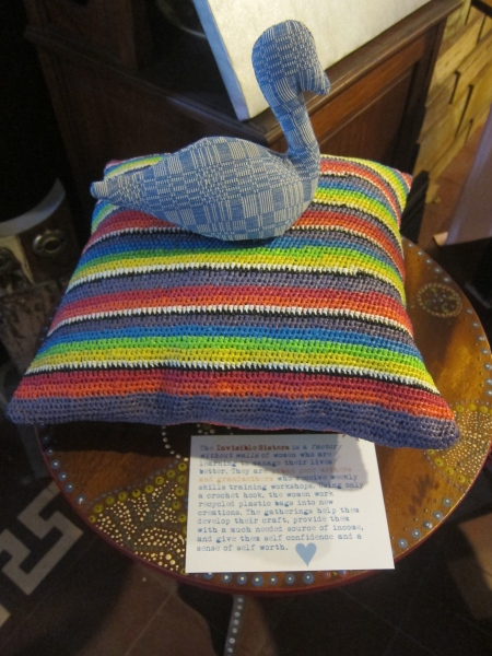 Crocheted pillowcases made from recycled plastic by the Invisible Sisters