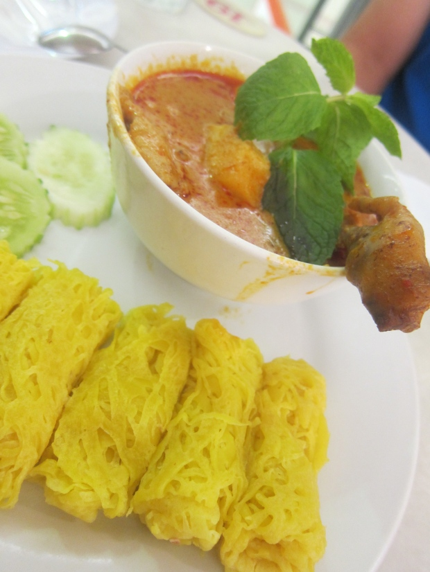 Netted crepes with chicken curry!