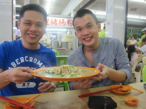 Though we look very happy here, I don't recommend the Cantonese noodles