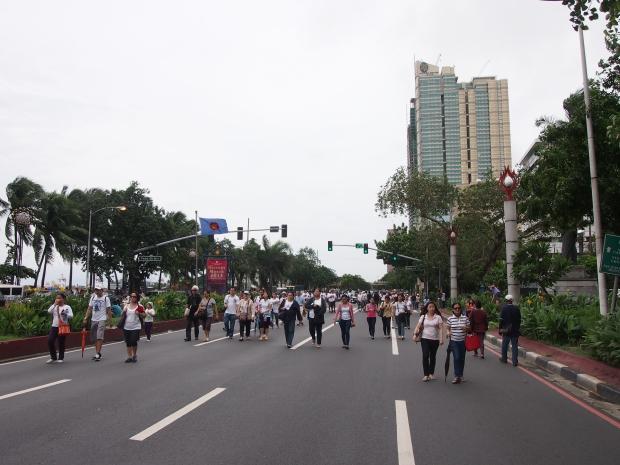People heading home